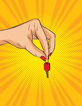 Illustrazione a colori in stile pop art. la mano femminile tiene le chiavi del veicolo.