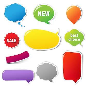 Etichette a colori impostate con testo con maglia gradiente isolato su sfondo bianco illustrazione