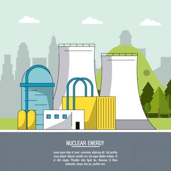 Pianta di produzione di energia nucleare del fondo del paesaggio di colore