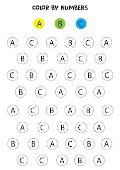 Lettere dell'alfabeto colorate secondo l'esempio. gioco di matematica per bambini.