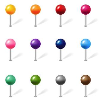 Posizione di colore pin set isolated white background