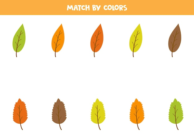Gioco di abbinamento dei colori per bambini in età prescolare. abbina le foglie autunnali in base ai colori.