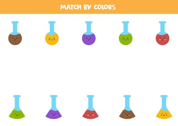 Gioco di abbinamento dei colori per bambini in età prescolare. abbina le provette per colore. Vettore Premium