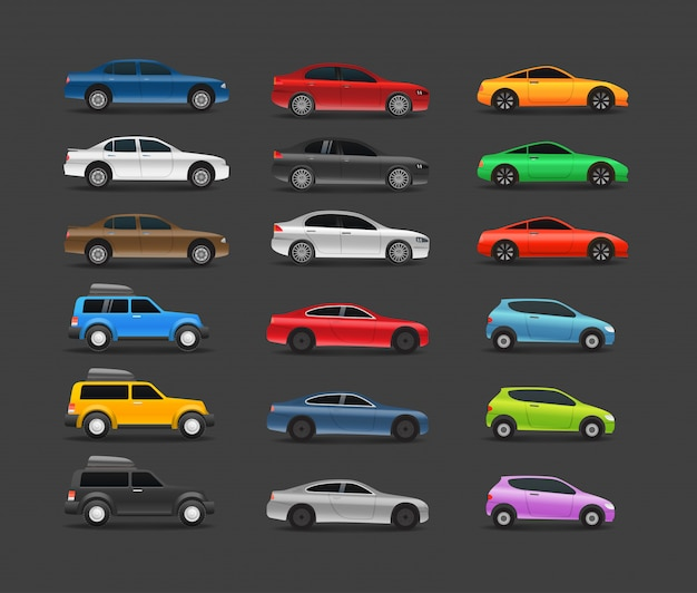 Collezione di auto moderne a colori Vettore Premium