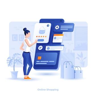 Colore illustrazione moderna - shopping in linea