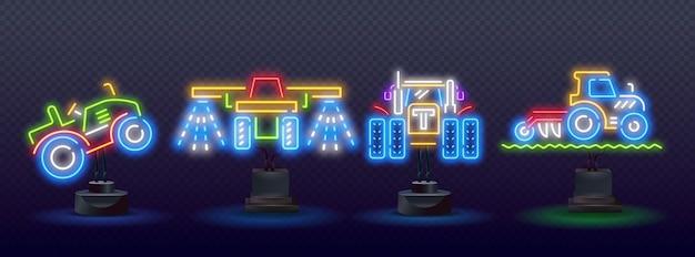 Linea al neon di colore icona del trattore isolato su sfondo nero