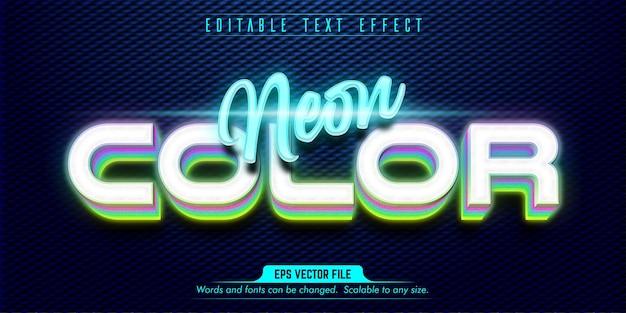 Effetto di testo modificabile in stile neon di colore