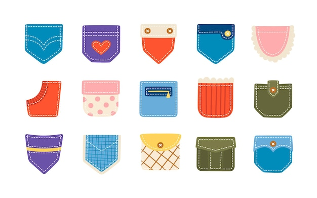 Tasche colorate applicate per pantaloni, magliette e altri indumenti. illustrazione del fumetto isolato su priorità bassa bianca Vettore Premium