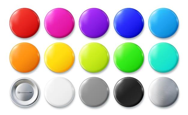 Distintivi con spilla a colori set di mockup di badge con spilla lucida con bottone tondo