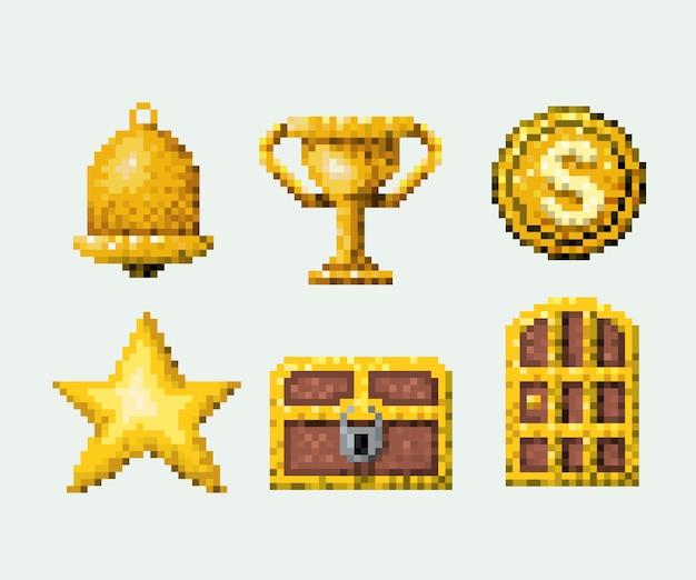 Colore pixelated set di elementi d'oro gioco arcade