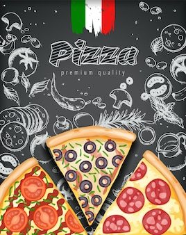 Poster di pizza a colori.