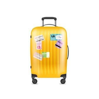 Illustrazione di vettore di borsa da viaggio in plastica a colori. oggetto isolato su bianco