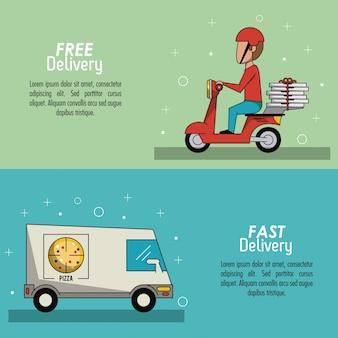 Consegna veloce della scena dell'insegna del manifesto di colore in camionposter della pizza
