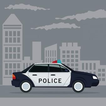 Paesaggio di colore città poster con il trasporto di veicoli della polizia