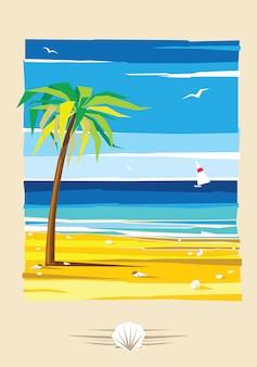 Poster a colori estate sulla spiaggia. la palma cresce sulla sabbia, in lontananza il mare blu. una barca a vela galleggia nell'oceano.