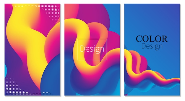 Poster a colori. onda. set copertina. sfondo liquido. flusso del fluido. colore di sfondo astratto. suono elettronico. astratto fluido. liquid wave. colore 3d. flusso . poster di musica. onde 3d design. .