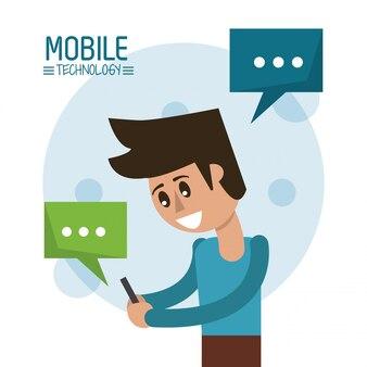 Poster a colori con metà corpo uomo in piedi con lo smartphone