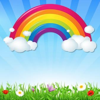 Colore arcobaleno con nuvole erba e fiori