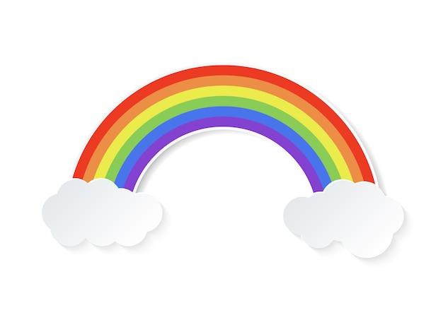 Colori l'arcobaleno con le nuvole isolate su fondo bianco. illustrazione.