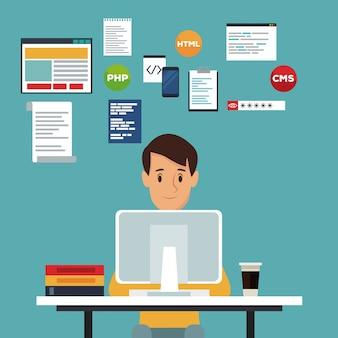 Uomo dello sviluppatore di web di vista frontale del fondo di scena di colore in linguaggio di programmazione dello scrittorio