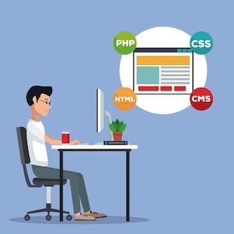Uomo di sviluppatore di web di vista laterale del fondo di scena di colore in linguaggio di programmazione dello scrittorio intorno al pc della finestra