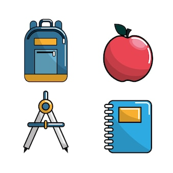 Icona di strumenti di scuola di colore
