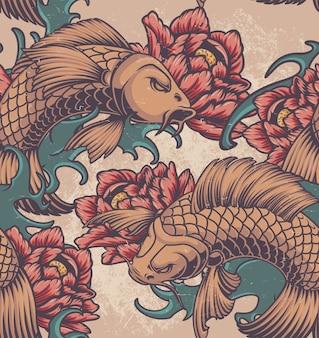 Modello senza cuciture di colore sul tema giapponese con carpe koi, peonie e onde.