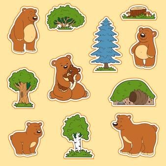 Set di colori di simpatici animali e oggetti, adesivi vettoriali, famiglia di orsi