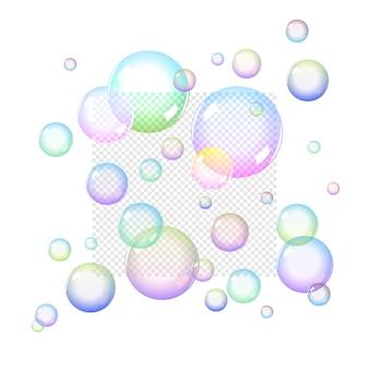 Bolle di sapone di colore impostate con trasparenza