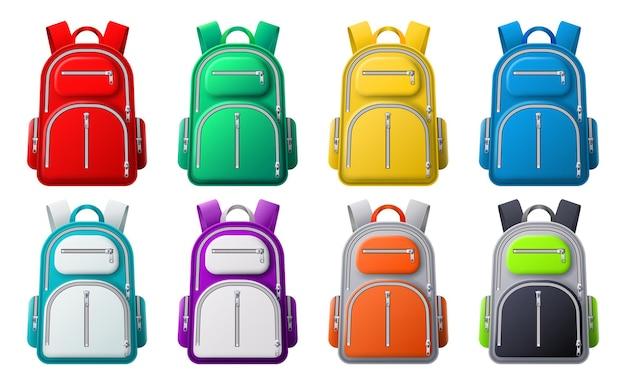 Modello di zaino sportivo a colori. zaini di diversi colori, borse da viaggio, abbigliamento sportivo o scolastico e scarpe, set vettoriale 3d realistico. zaino e borsa, collezione zaini colorati