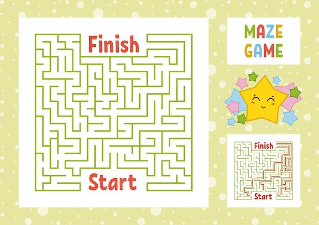 Foglio di lavoro labirinto quadrato di colore per bambini