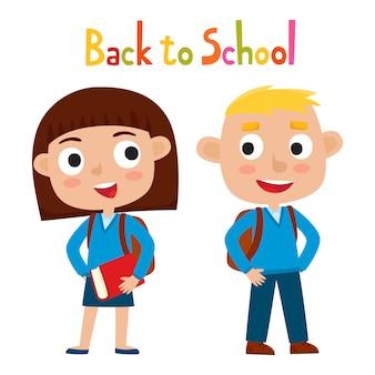 Illustrazione di vettore di colore della ragazza e del ragazzo abbastanza alla moda in uniforme scolastica nello stile del fumetto isolato su bianco