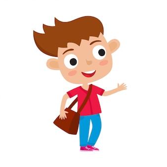 Illustrazione vettoriale di colore di stand di ragazza abbastanza elegante con borsa