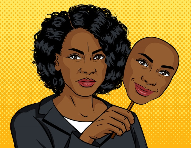 Illustrazione di colore pop art stile vettoriale. ragazza afroamericana con una faccia finta. la ragazza dalla pelle scura tiene una maschera con un sorriso artificiale. la donna arrabbiata tiene in mano una maschera con una faccia felice
