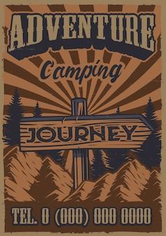 Poster vintage a colori sul tema campeggio con cartello stradale con sfondo di montagna.