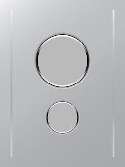 Icona del pulsante di colore bianco su sfondo di colore grigio