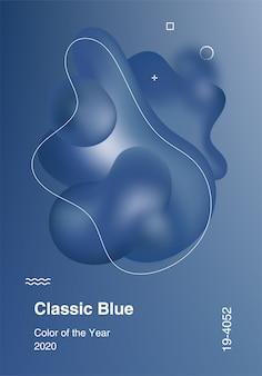 Color of the year 2020, classic blue, poster con palette di colori di tendenza. forme geometriche astratte di colori fluidi.