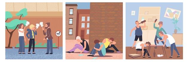 Icona piana di dipendenza colorata impostata con droghe di nicotina e illustrazione di tipi di dipendenza da alcol