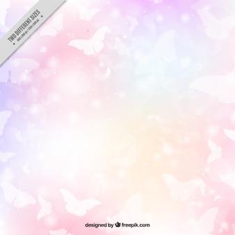 Sfondo colorato di farfalle bianche