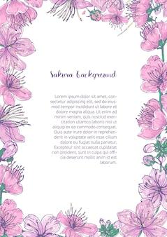 Sfondo colorato con cornice floreale costituito da bellissimi fiori rosa in fiore e boccioli di sakura giapponese disegnati a mano con il posto per il testo al centro.