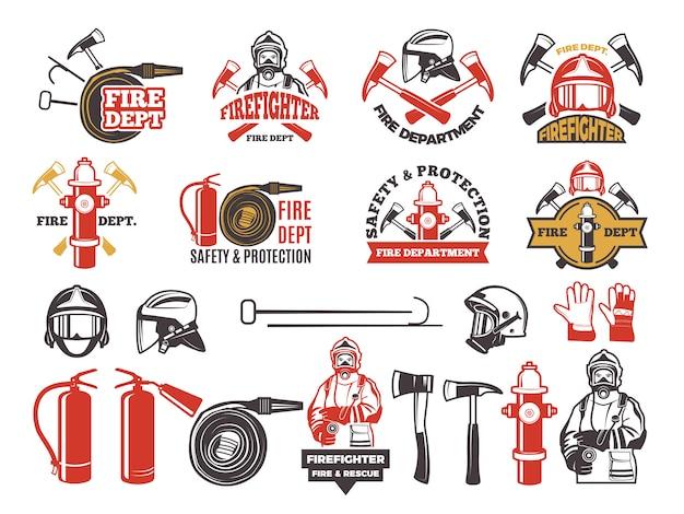 Badge colorati per il dipartimento vigili del fuoco. Vettore Premium