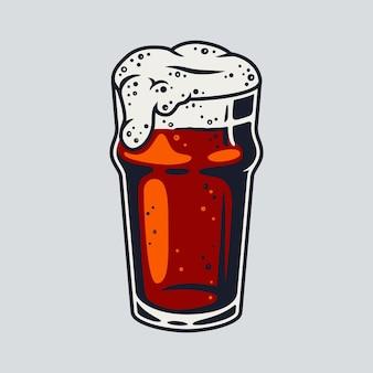 Bicchiere da birra colorato con schiuma per decorare il menù del bar e pub. elemento per il festival bavarese di ottobre