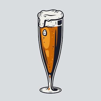 Boccale di birra colorato con bar retrò in schiuma e menu da pub. tipi di bicchieri per il festival bavarese di ottobre