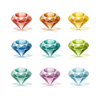 Diamanti colorati blu turchese lilla viola giallo arancione verde rosso
