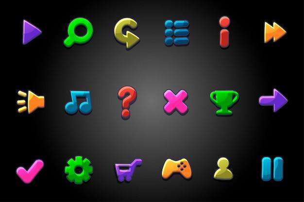 Pulsanti rotondi luminosi colorati per il gioco. insieme di vettore delle icone multicolori del menu della gui dei segni.