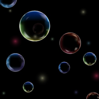 Struttura subacquea delle bolle colorate isolata su fondo nero. aria gassata, gas o bolle di ossigeno pulite sotto l'acqua di mare.