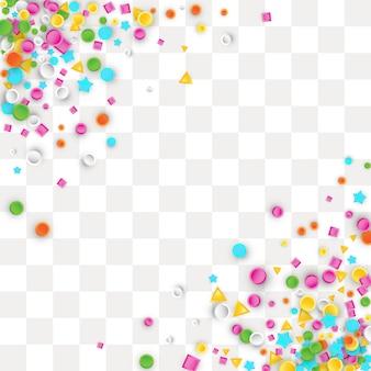 Sfondo colorato coriandoli carnevale fatto di forme geometriche stella, quadrato, triangolo, cerchio