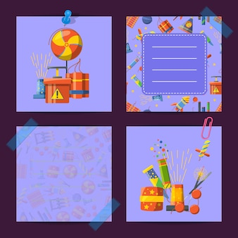 Note colorate carine di set con illustrazione pirotecnica dei cartoni animati