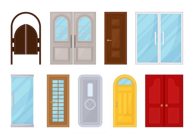 Porte colorate su sfondo bianco. illustrazione.
