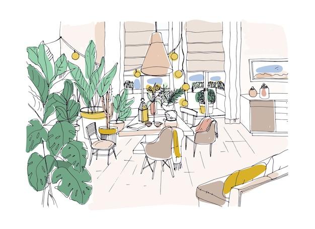 Disegno colorato di un'accogliente sala da pranzo arredata in moderno stile scandic hygge